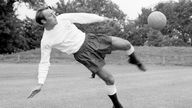 Jimmy Greaves trains ahead of the FA Cup final at Wembley Stadium against his former club Chelsea in May 1967