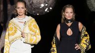 Moss (right) modelling the Versace by Fendi collection in Milan on 26 September 2021