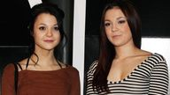 Skins stars Kathryn Prescott (left) and Megan Prescott arriving for the premiere of Jackass 3D, at BFI IMAX, Southbank in London in 2010