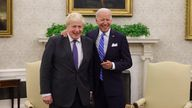 Laughing - . Prime Minister Boris Johnson holds a bilateral meeting with the Presidents of the United States of America in the Oval Office in the White House, Washington DC. Picture by Andrew Parsons / No 10 Downing Street PIC: Andrew Parsons / No 10 Downing Street