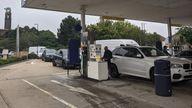 Long queue at petrol station
