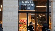 The logo of Marks & Spencer is seen in front of a store in Paris, France, January 5, 2017. M&S