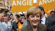 Angela Merkel, leader of Germany's Christian Democratic Union (CDU) arrives for an election campaign rally in the eastern German town of Wittenberg August 15, 2005. REUTERS/Fabrizio Bensch FAB/JOH