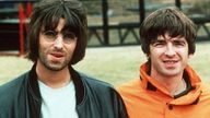 Liam and Noel Gallagher at the Oasis Knebworth gigs. Pic: Times Newspapers/Shutterstock  Oasis at the Knebworth Festival, Britain - Aug 1996 Liam and Noel Gallagher  Aug 1996