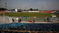 Pakistani police officers at the Pindi Cricket Stadium ahead of the abandoned first match. Pic: AP