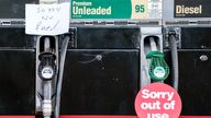 Fuel pumps out of use at a deserted petrol station forecourt in Honley, West Yorkshire