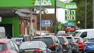 Cars queue outside Asda petrol station in Reading, Berkshire