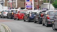 Motorists queue for petrol at a petrol station in Brockley, South London