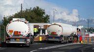 Fuel tankers at the Petroineos Grangemouth Refinery.