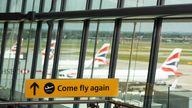 EDITORIAL USE ONLY New ???COME FLY AGAIN??? signage is unveiled at London???s Heathrow Airport to celebrate the safe reopening of international travel and mark its 75th anniversary. Issue date: Thursday July 29, 2021.