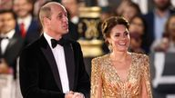 """Britain's Prince William and Catherine, Duchess of Cambridge, arrive at the world premiere of the new James Bond film """"No Time To Die"""" at the Royal Albert Hall in London, Britain, September 28, 2021. REUTERS/Henry Nicholls"""