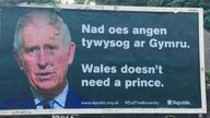 """Billboards featuring pictures of Prince Charles and a slog """"Wales doesn't need a prince"""" have appeared in Wales. Credit: Republic Twitter"""
