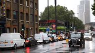 Vehicles queue to refill at a Texaco fuel station in London, Britain, September 27, 2021.