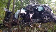 """The driver only received """"minor injuries"""" in the incident. Pic: Surrey Police"""