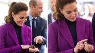 2 Way teaser comp -  The Duchess of Cambridge handles a tarantula and a bird from Kidz Farm during a tour a of Magee University in Londonderry, Northern Ireland. Picture date: Wednesday September 29, 2021.