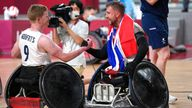 Britain's Stuart Robinson (right) and Jim Roberts celebrate after winning the mixed wheelchair rugby gold medal, Pic: AP