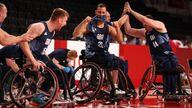 Getty: Britain's wheelchair basketball team celebrate making the podium
