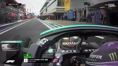 Hamilton crashes in the pit lane!