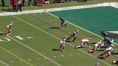 Hurts launches to Watkins for 91-yard gain!