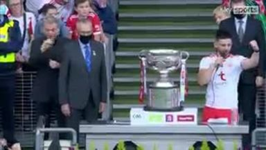 Pádraig Hampsey lifts the Sam Maguire Cup!