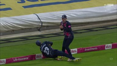 Incredible scenes as catch becomes a six!