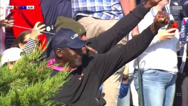 MJ celebrates DJ's Ryder Cup birdie