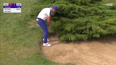 Hovland attempts left-handed bush hack!
