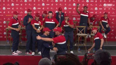 Bryson, Brooks celebrate win with hug!