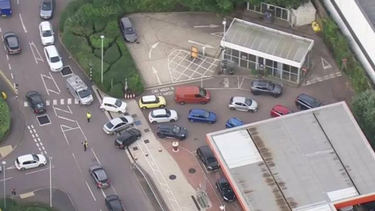 Cars queue for fuel all over the UK.
