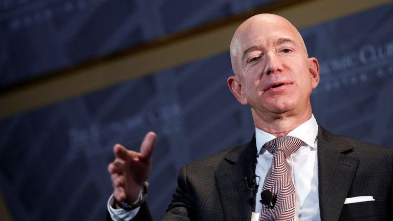"Jeff Bezos, president and CEO of Amazon and owner of The Washington Post, speaks at the Economic Club of Washington DC's ""Milestone Celebration Dinner"" in Washington, U.S., September 13, 2018.      REUTERS/Joshua Roberts"