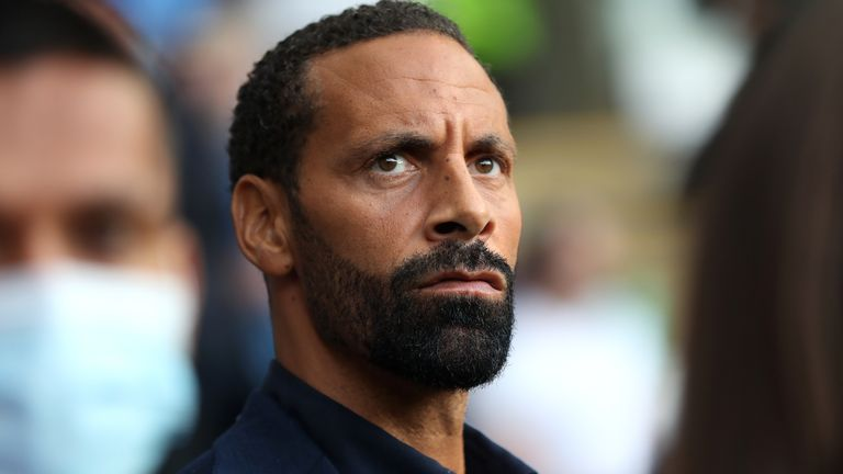 Rio Ferdinand before the UEFA Super Cup match at Windsor Park, Belfast. Picture date: Wednesday August 11, 2021.