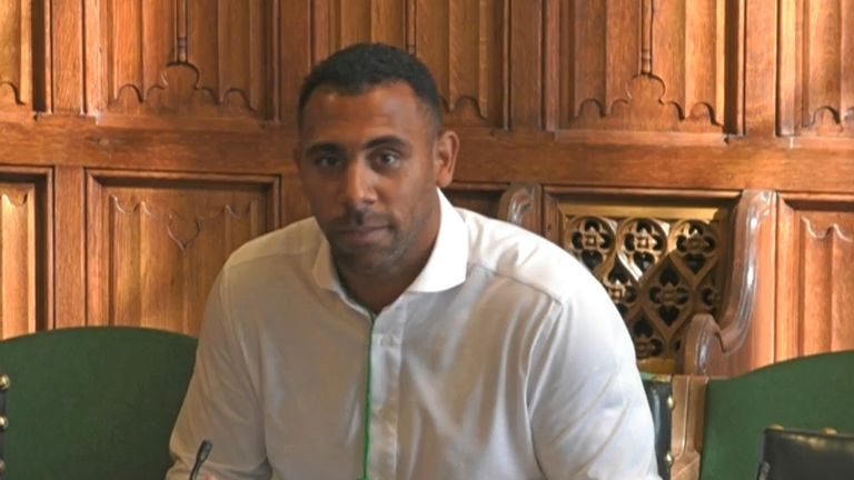 Anton Ferdinand giving evidence to the Home Affairs Committee inquiry into online racist abuse.
