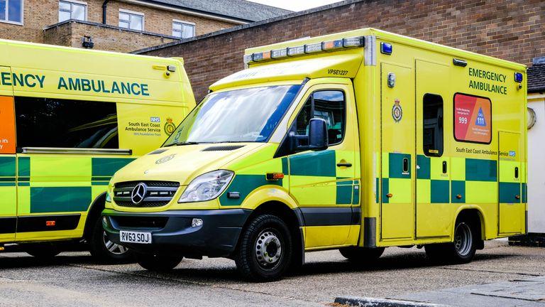 London, UK, May 12, 2020, Parked Ambulances Service Vehicles In South London, UK, NHS Emergency Medical Response Vehicles, With No People During Coronavirus COVID-19