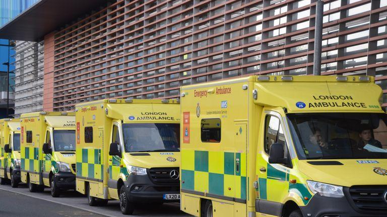 London, United Kingdom - January 28 2021: Ambulance vehicles at the Royal London Hospital during the coronavirus pandemic.