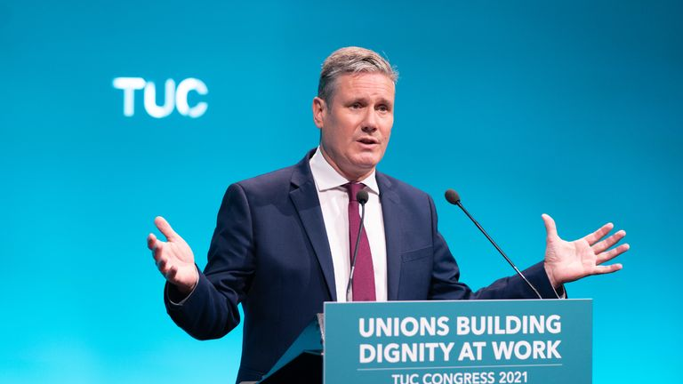 Labour leader Sir Keir Starmer speaking at the TUC congress in London. Picture date: Tuesday September 14, 2021.
