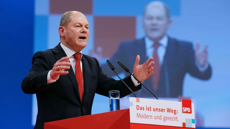 Olaf Schulz speaks during an SPD party convention in Berlin, Germany, November 7, 2017. REUTERS/Axel Schmidt