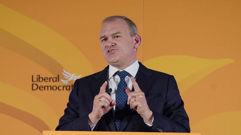 Liberal Democrat leader Sir Ed Davey giving his keynote address at One Canada Square in east London, to his his party's annual Lib Dem conference which is being held virtually this year. Picture date: Sunday September 19, 2021.