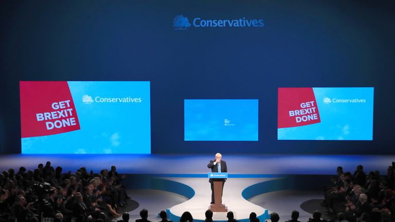 Prime Minister Boris Johnson delivers his speech during the Conservative Party Conference at the Manchester Convention Centre.