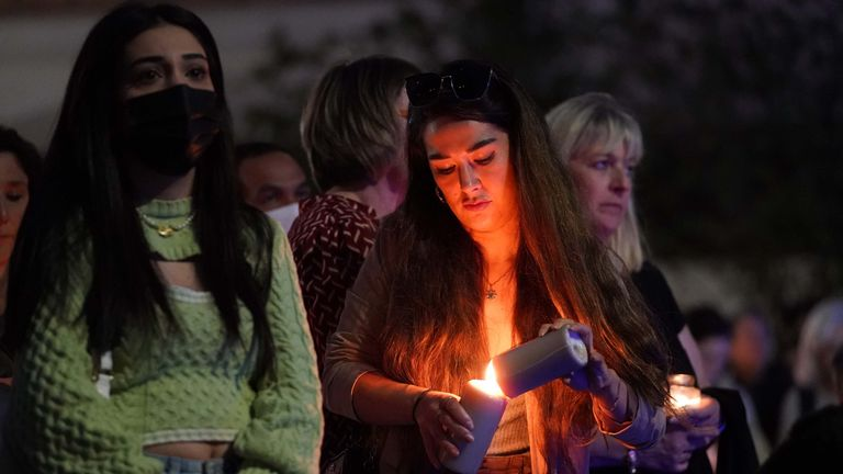 Members of the public attend a vigil in memory of Sabina Nessa, and in solidarity against violence against women, at Pegler Square in Kidbrooke, south London. The body of 28-year-old school teacher Sabina was found near the OneSpace community centre at Kidbrooke Park Road in the Royal Borough of Greenwich on Saturday. Picture date: Friday September 24, 2021.
