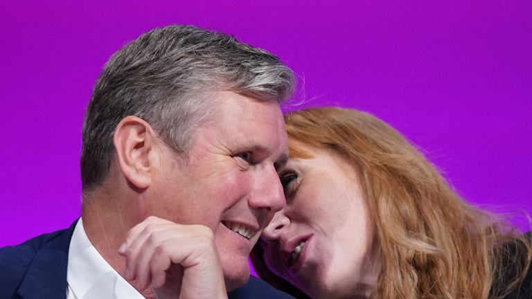 Labour Party leader Sir Keir Starmer and deputy leader Angela Rayner at the Labour Party conference in Brighton. Picture date: Saturday September 25, 2021.