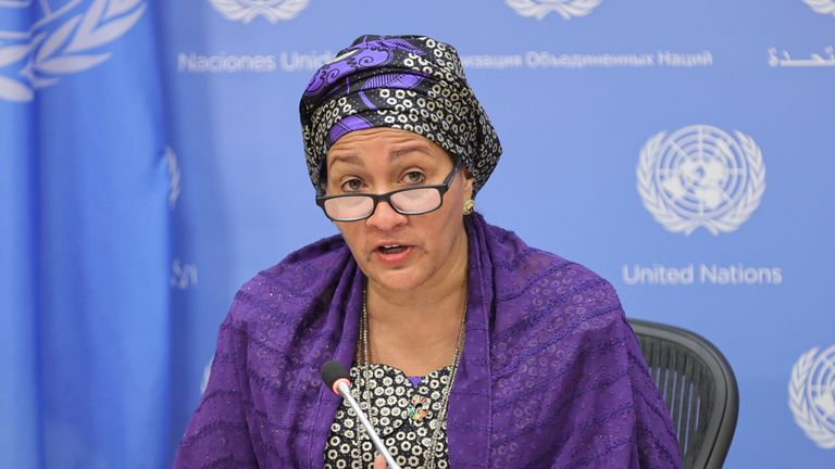United Nations, New York, USA, September 23, 2021 - Deputy Secretary-General Amina Mohammed briefs journalists on the UN Food Systems Summit.Today at the UN Headquarters in New York City. Photo by: Luiz Rampelotto/EuropaNewswire/picture-alliance/dpa/AP Images