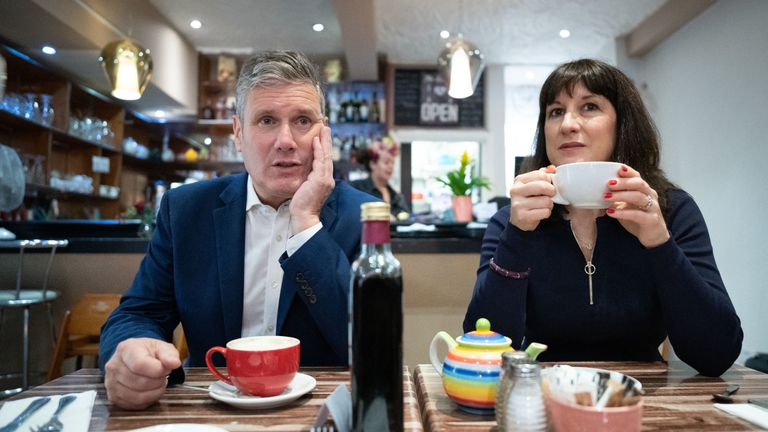 EMBARGOED TO 0001 MONDAY SEPTEMBER 27 Labour Party leader Sir Keir Starmer and shadow chancellor Rachel Reeves during a visit to businesses in Hove, East Sussex where they met shop keepers and local people before attending the second day of the Labour Party annual conference in Brighton. Picture date: Sunday September 26, 2021.