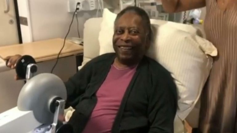 Video released by Pele's daughter shows him smiling and getting physio treatment in hospital