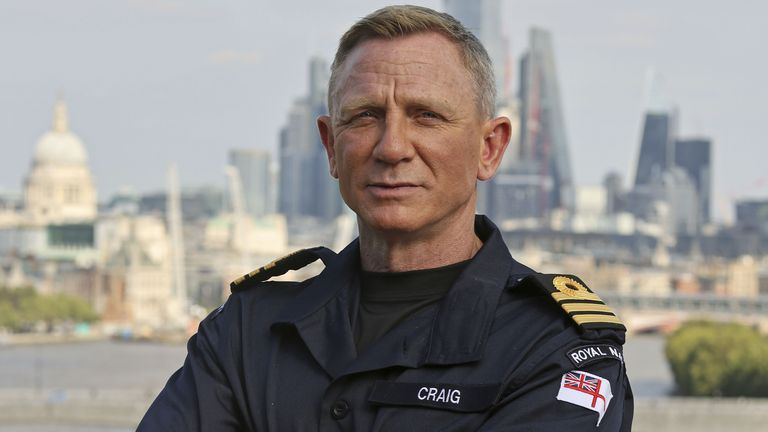 Ministry of Defence handout image of actor Daniel Craig, best known for playing the role of James Bond in the long-running 007 film series, wearing the honorary Royal Navy rank of Commander he has received from the Head of the Royal Navy, First Sea Lord Admiral Sir Tony Radakin, at the Corinthia Hotel. Picture date: Wednesday September 22, 2021. PIC:LPhot Lee Blease/PA