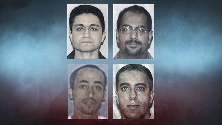 Top left to right: Mohamed Atta, Marwan al Shehhi; bottom left to right: Hani Hanjour, Ziad Jerrah