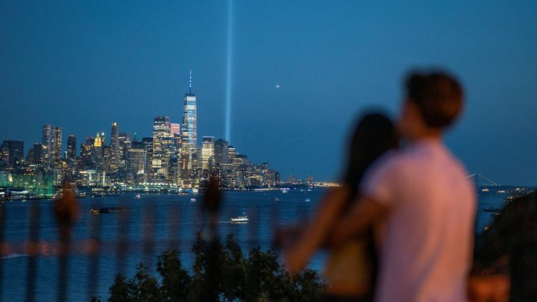 The Tribute in Light art installation shined bright over New York City - serving as a reminder of the lives lost
