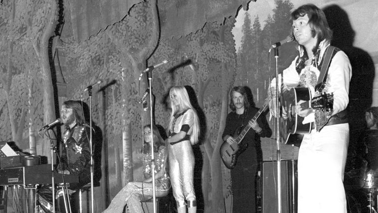 ABBA performing as an unknown band in Sweden before they were famous in 1973. Pic: I B L/Shutterstock