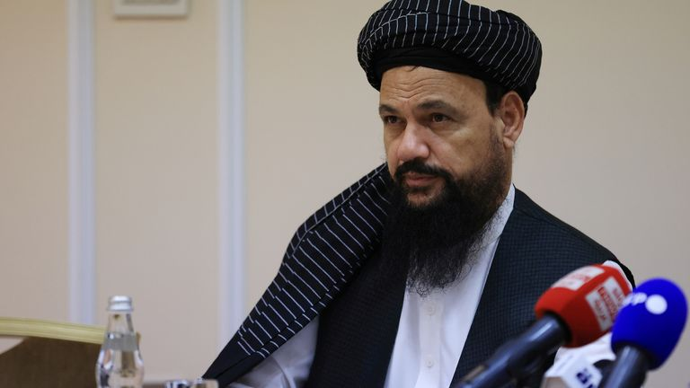 Abdul Latif Mansoor attends a news conference in Moscow in July