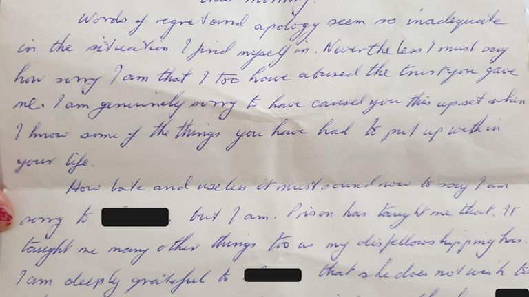 Peter Stewart Letter 1 and 2 is the letter that Peter Stewart wrote to the mother of 'Amelia' and 'Rachel', apologising for abusing 'Amelia'.