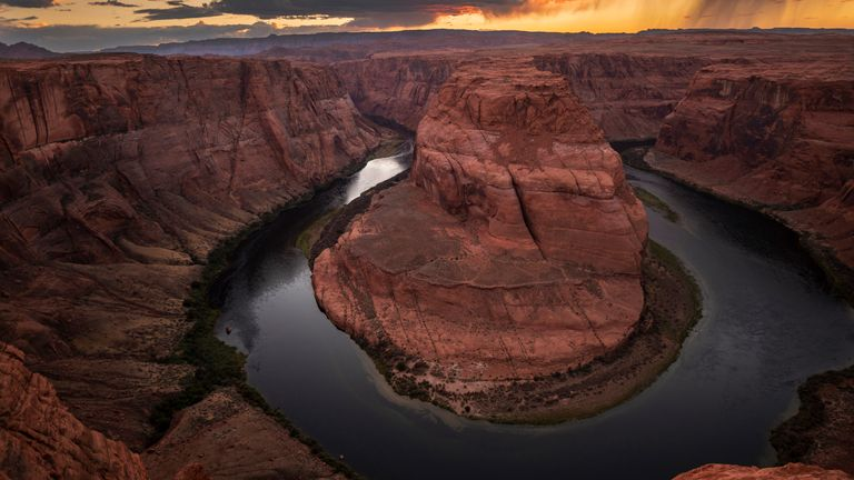 AUGUST 25: The Colorado River winds through Horseshoe Bend in the Glen Canyon National Recreation Area in Page, Ariz., at sunset on Wednesday, August 25, 2021.  PIC:AP